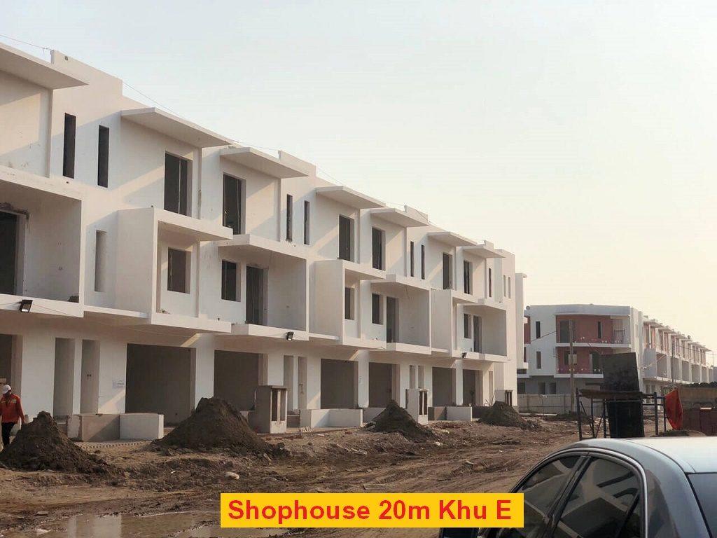 tiến độ shophouse đường 20m dragon village