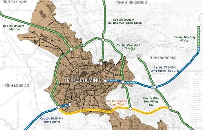 Minh họa các tuyến cao tốc trên bản đồ