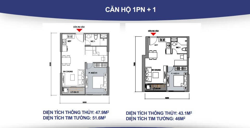Căn hộ 1 phòng ngủ + 1 WC