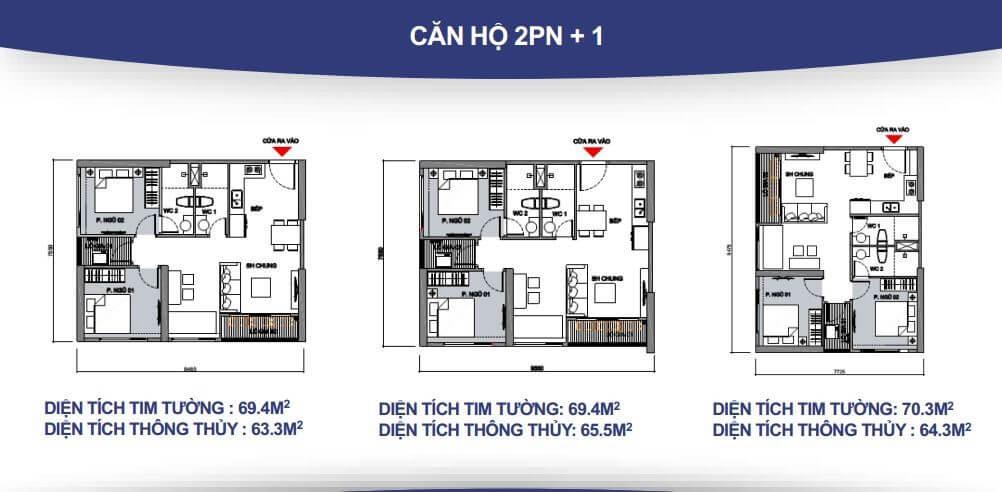 Căn hộ 2 phòng ngủ + 1 – 2 WC