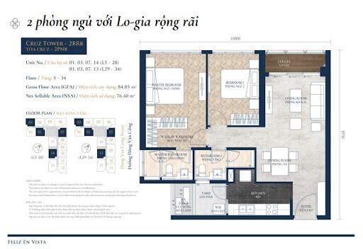 căn hộ 2 pn Altaz Feliz En Vista