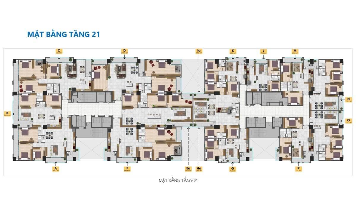 mặt bằng tầng 21 Tam Đức Plaza