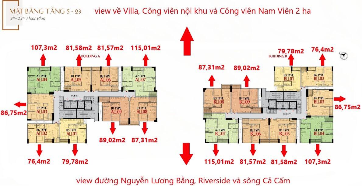 mặt bằng tầng 5 -23 dự án The Antonia Phú Mỹ Hưng