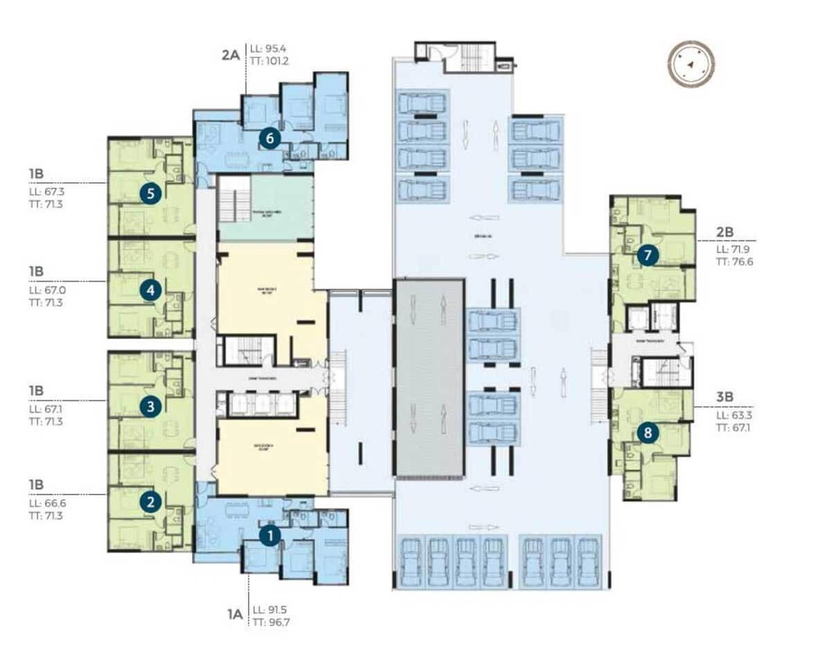 Mặt bằng căn hộ Precia tầng 2-3