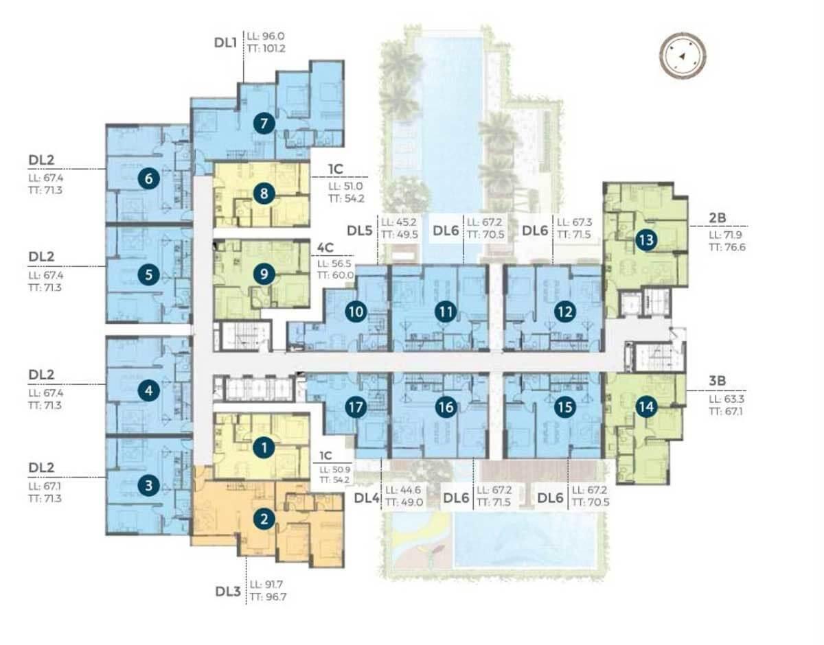 Mặt bằng căn hộ Precia tầng 22