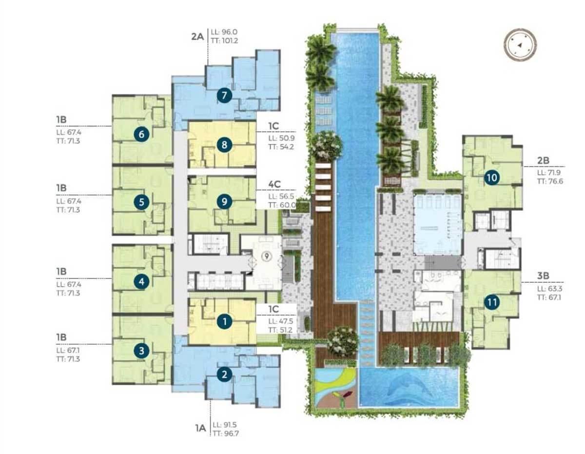 Mặt bằng căn hộ Precia tầng 4