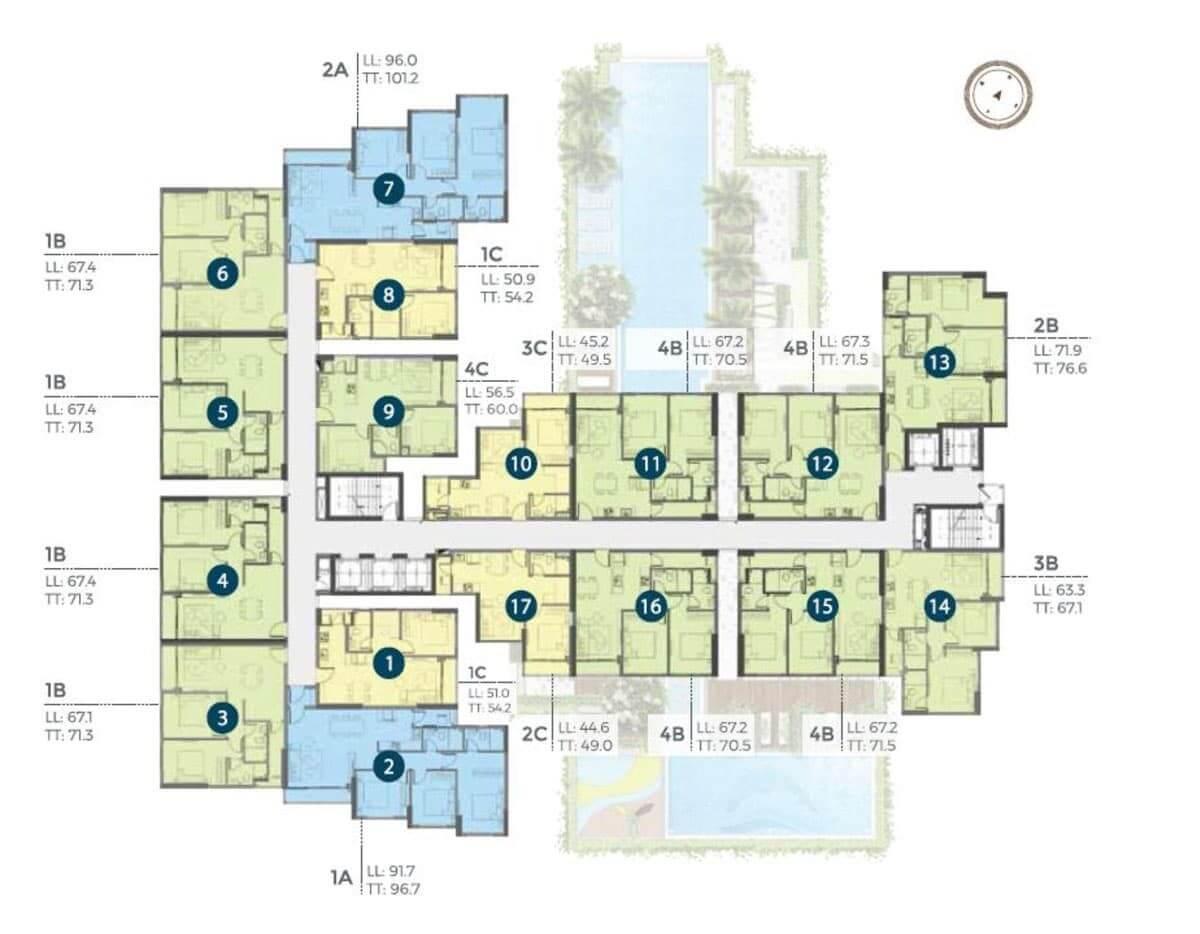 Mặt bằng căn hộ Precia tầng 5 -21