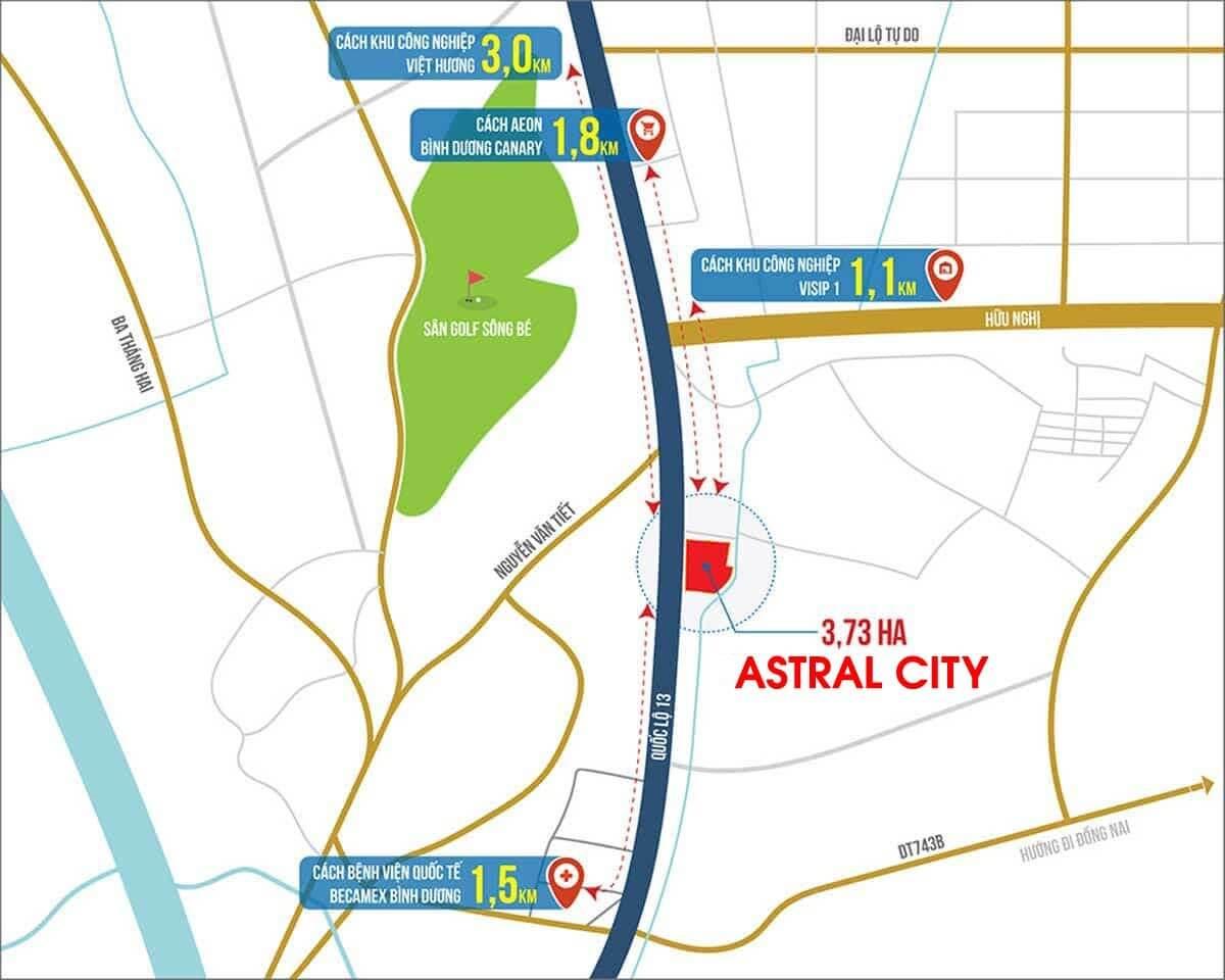 vị trí Astral City Bình Dương