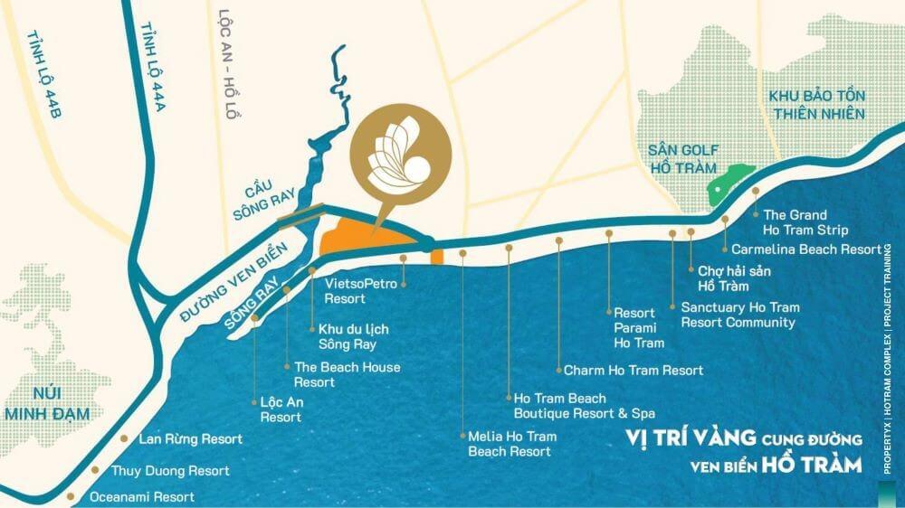 vị trí Hồ Tràm Complex