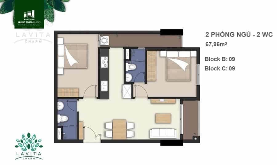 bán căn hộ 2pn Lavita Charm