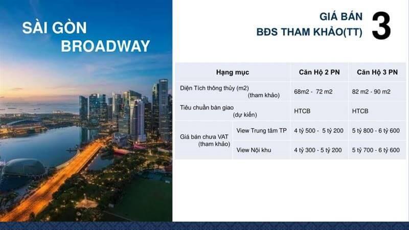 giá bán căn hộ Saigon Broadway