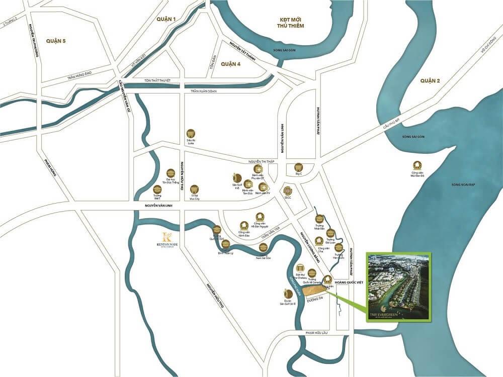 vị trí dự án Evergreen Quận 7