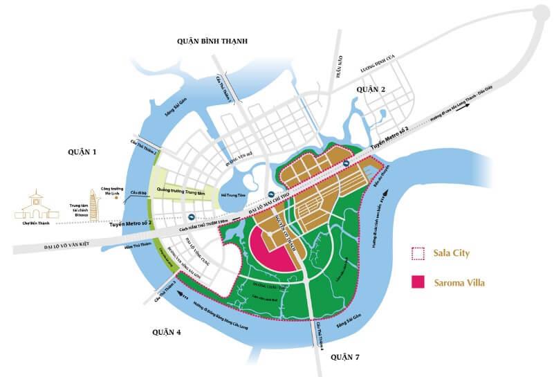 vị trí dự án Saroma Villa