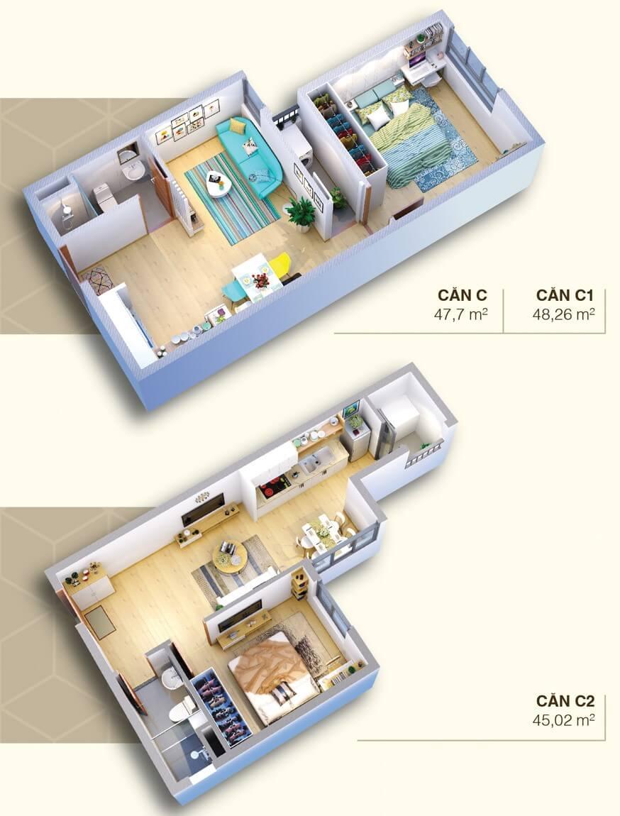 căn hộ loại C chung cư Saigonhomes