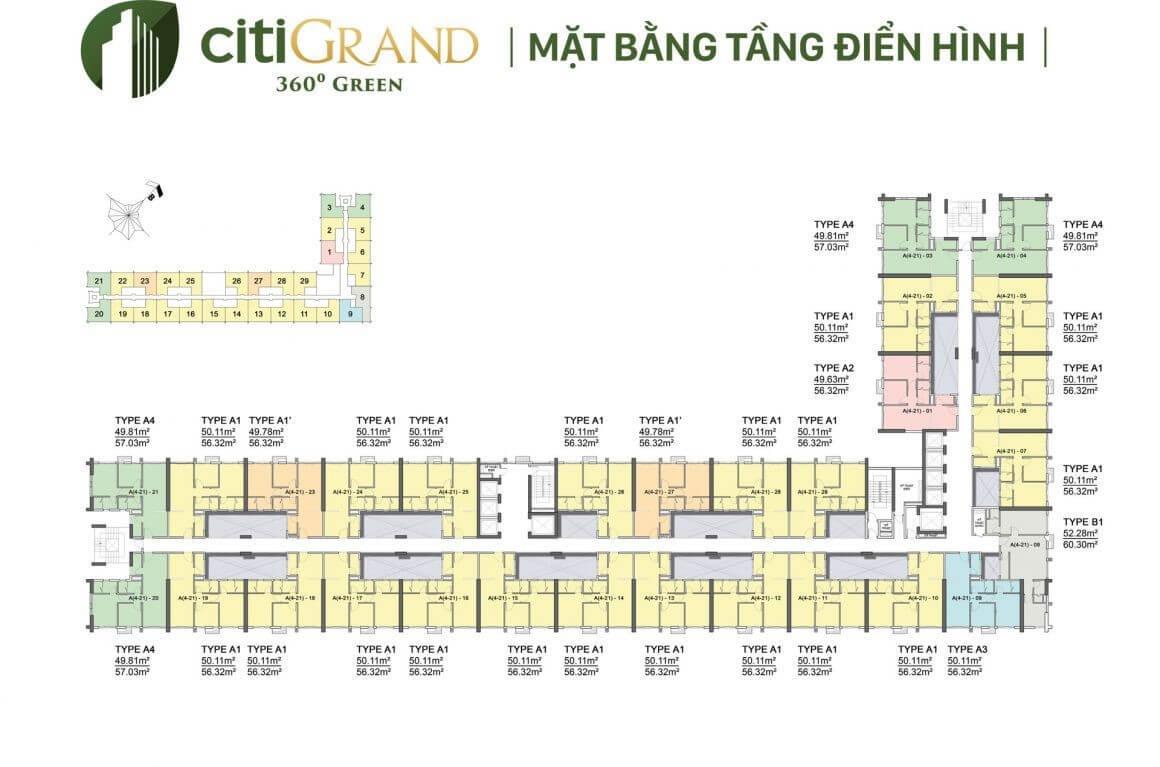 mặt bằng dự án Citi Grand