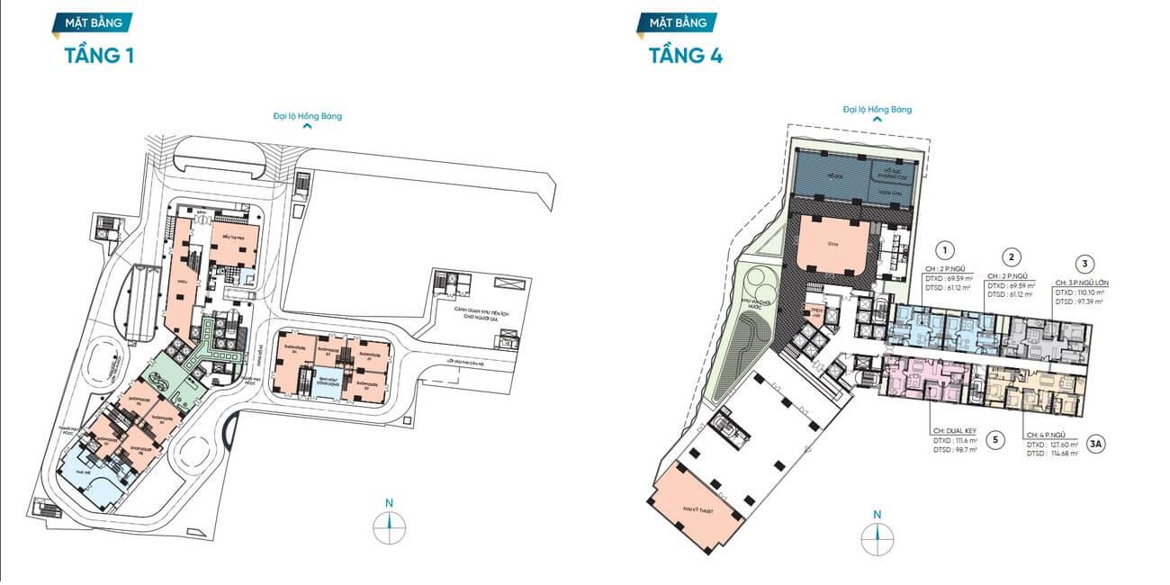 Mặt bằng thiết kế tầng 1 – 4 dự án D Homme