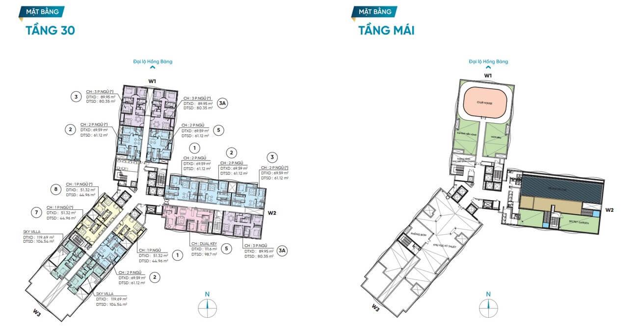 Mặt bằng thiết kế tầng 30 và tầng mái dự án D Homme