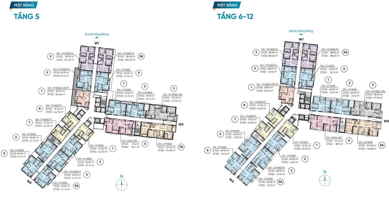 Mặt bằng thiết kế tầng 5 – 12 dự án D Homme