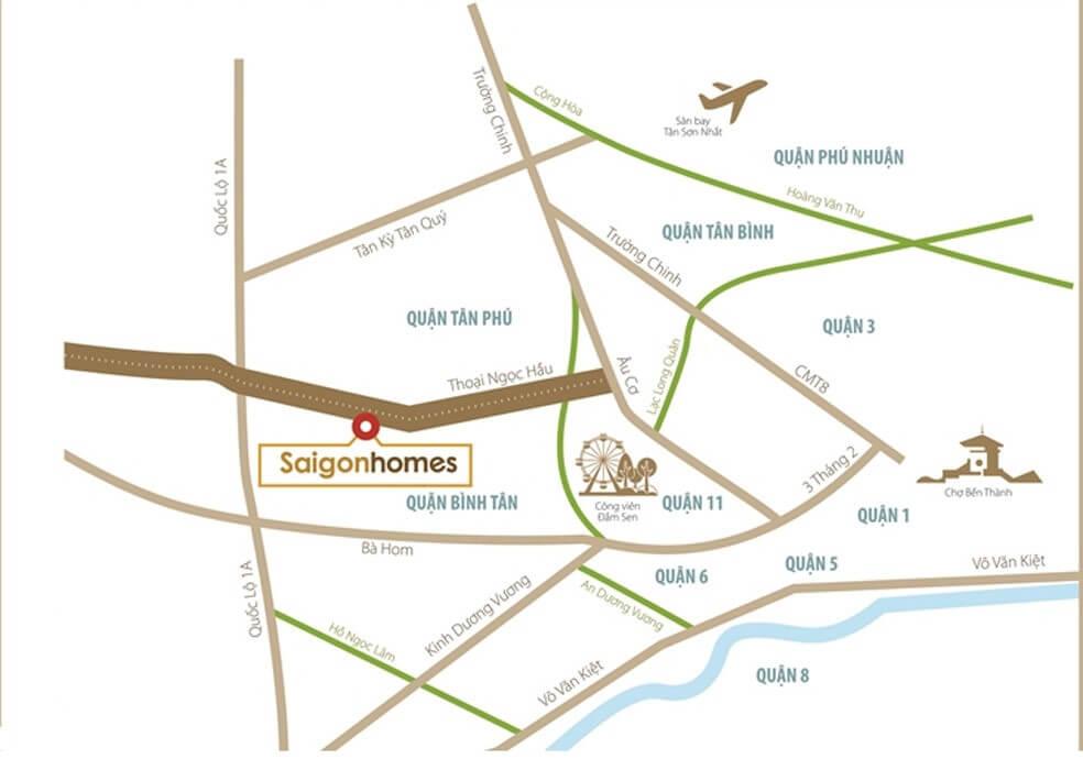 vị trí căn hộ Saigonhomes Bình Tân