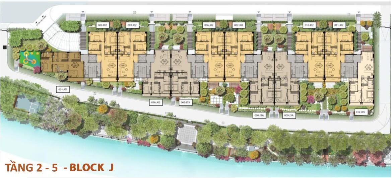 Mặt bằng từ tầng 2 – tầng 5 Bolck J dự án Panomax River Villa
