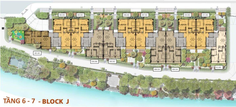 Mặt bằng từ tầng 6, tầng 7 Bolck J dự án Panomax River Villa