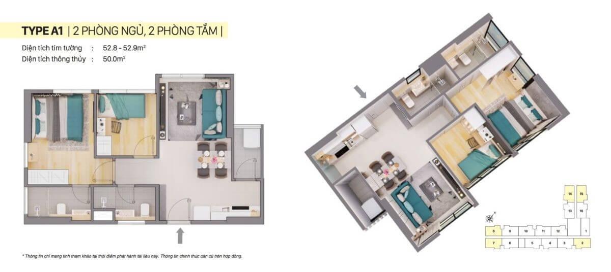 Thiết kế căn hộ A1 CitiAlto
