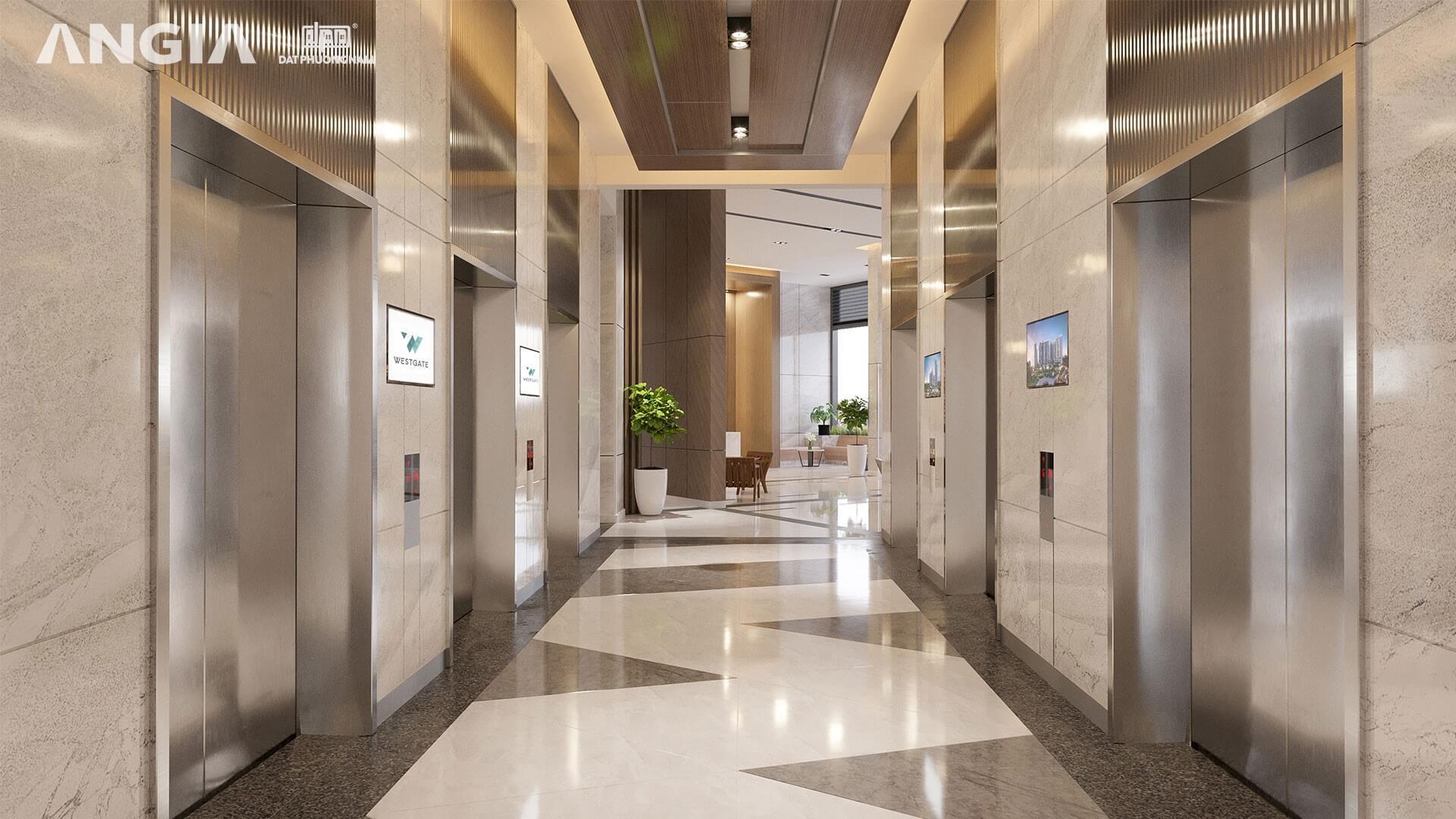 Khu vực thang máy Dự án West Gate