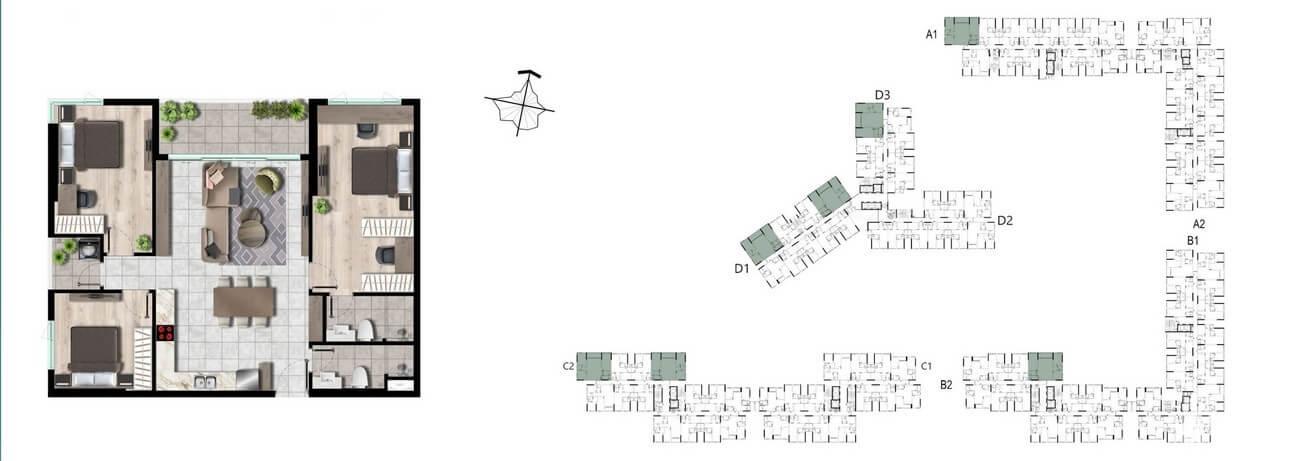 Vị trí căn hộ 3PN – 113m2 trên mặt bằng dự án West Gate