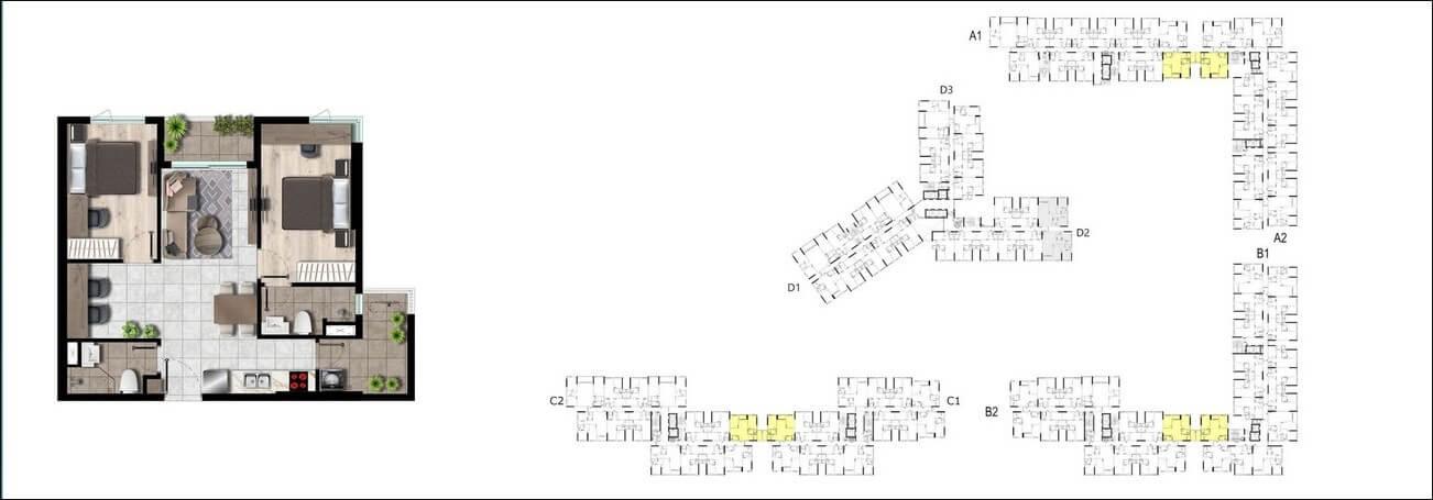 Vị trí căn hộ 2PN – 69m2 trên mặt bằng dự án West Gate